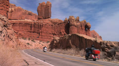 Motorcycling In Arches National Park, Moab Utah Stock Footage