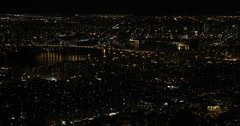 Ultra HD 4K Aerial View of New York City, East River, Williamsburg Bridge, night Stock Footage