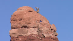 Rock Climbing Arches National Park Stock Footage