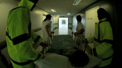 Young Child Rushed Hospital Accident Emergency Wide Angle Stock Footage