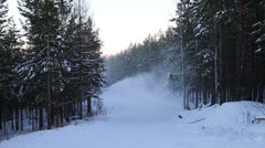 The work of a snow cannon. Creation of snow on the slopes Stock Footage