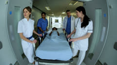 Young Patient Taken by Bed Hospital Ward Stock Footage