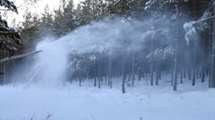The work of a snow cannon. Creation of snow on the slopes of the Stock Footage
