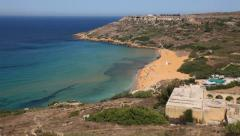 Ramla beach, gozo, malta Stock Footage
