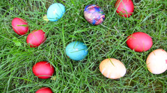 Easter eggs hiding in the grass, wide shoot Stock Footage