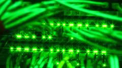 Green lights of Ethernet server - stock footage