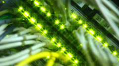 Shiny lights on Ethernet server - stock footage