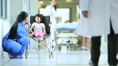 Asian Indian Medical Staff Child Patient Hospital Corridor Stock Footage