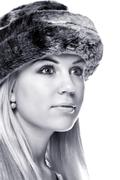 woman wearing a fur hat - stock photo