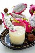 Lychee with Dragon fruit smoothie - stock photo