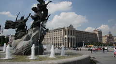 Kiev, Independence square (Maydan) Stock Footage