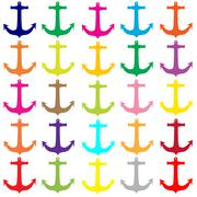colorful anchors pattern - stock illustration