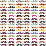 mustache pattern with polka dots - stock illustration