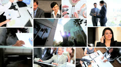Montage of Multi ethnic working managers using technology - stock footage