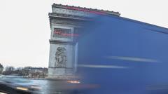 Paris Arch De Triumph square time lapse Stock Footage