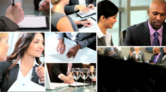 Business montage Multi ethnic financial managers Stock Footage