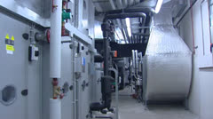 Pan + hold Industrial climate control room Stock Footage