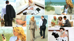 Montage of relaxing Multi ethnic managers out of office Stock Footage