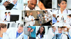 Montage of Multi ethnic medical meetings in hospital Stock Footage