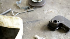 Motor Parts on The Floor Stock Footage