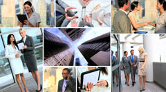 Montage of Multi ethnic business managers using touch screen - stock footage
