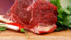 Beef big rib piece with garlic Stock Footage