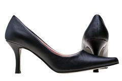 ladies black high heels shoes isolated - stock photo