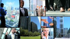 Montage successful Multi ethnic managers modern technology Stock Footage