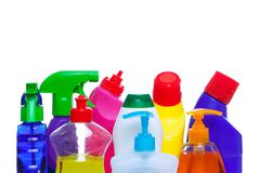 Cleaning bottles Stock Photos