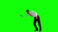 Businessman break dancing Stock Footage