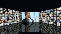 3D video wall montage business managers closing contract on phone - stock footage