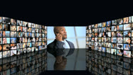 3D video wall montage business managers closing contract on phone Stock Footage