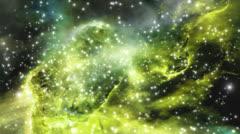 Space stars green nebula Stock Footage