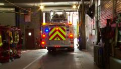 Fire Truck Backs Up Into Sation Stock Footage