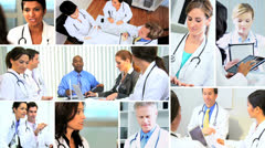 Montage Multi ethnic doctors meeting hospital using technology - stock footage
