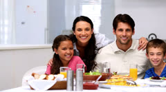 Family smiling and waving Stock Footage
