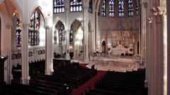 Cathedral Interior Pan Up Stock Footage