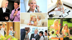 Montage of woman as a mother and business manager Stock Footage