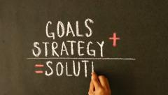 Stock Video Footage of Goals, Strategy, Solutions chalk drawing
