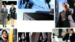 Montage fly through business managers working with technology - stock footage
