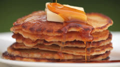 Pancakes and syrup Stock Footage