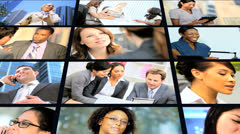 3D montage successful Multi ethnic managers using modern technology - stock footage