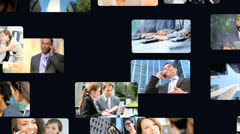 3D video wall business people using online touch screen - stock footage