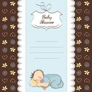 Baby shower card with little baby boy sleep with his teddy bear toy Stock Illustration