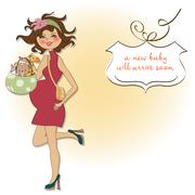 Baby announcement card with pregnant woman Stock Illustration