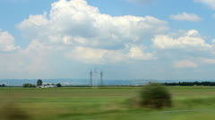 Landscape shot from a moving car - stock footage