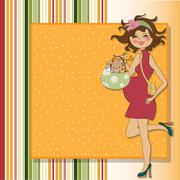 baby announcement card with pregnant woman - stock illustration