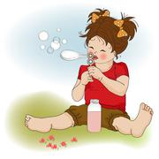 Funny lovely little girl blowing soap bubbles Stock Illustration