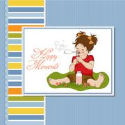 funny lovely little girl blowing soap bubbles - stock illustration