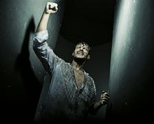 amazing picture of the triumphant man - stock photo